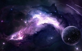 Обои Фиолетовая туманность: Космос, Планета, Туманность, Space-art, Космос