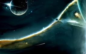 Обои Зеленая туманность: Космос, Туманность, Space-art, Космос