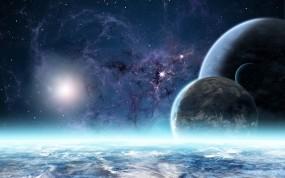 Обои за атмосерой: Атмосфера, Планеты, Звёзды, Туманность, Космос