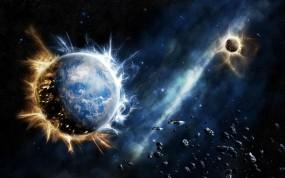 Обои Нападение на землю: Планеты, Земля, Нападение, Апокалипсис, Космос