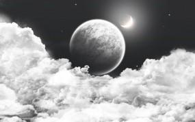 Обои космос за облаками: Облака, Космос, Планеты, Небо, Космос