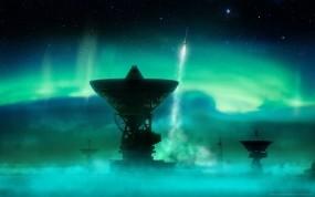 Обои Северное сияние: Ракета, Северное сияние, Обсерватория, Космос