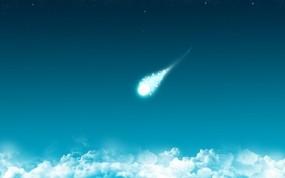 Обои Комета: Облака, Комета, Синий, Минимализм, Космос