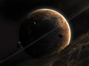 Обои Сатурн: Планета, Кольцо, астероид, Космос