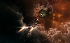 Взлетающий космический корабль