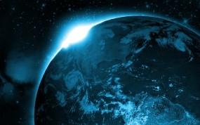 Обои Вид Земли из космоса: Солнце, Космос, Восход, Земля, Планета, Космос