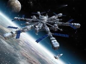 Обои Космическая станция: Космос, Планета, Станция, Космос