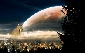 Обои Неизвестная планета: Планета, Дерево, Космос