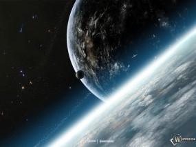 Обои Космос: Луна, Земля, Наша галактика, Комета, Космос