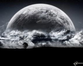 Обои Луна: Облака, Луна, Фантастика, Космос