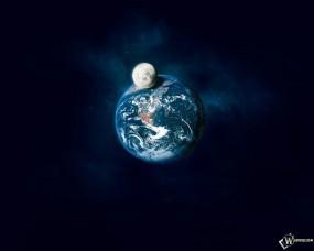 Обои Планета Земля и ее спутник: Космос, Луна, Земля, Орбита, Космос