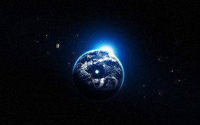 Обои Земля в илюминаторе: Земля, Планета, Звёзды, Блик света, Космос