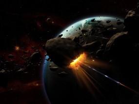Обои Астероиды: Планета, Взрыв, Астероиды, Космос