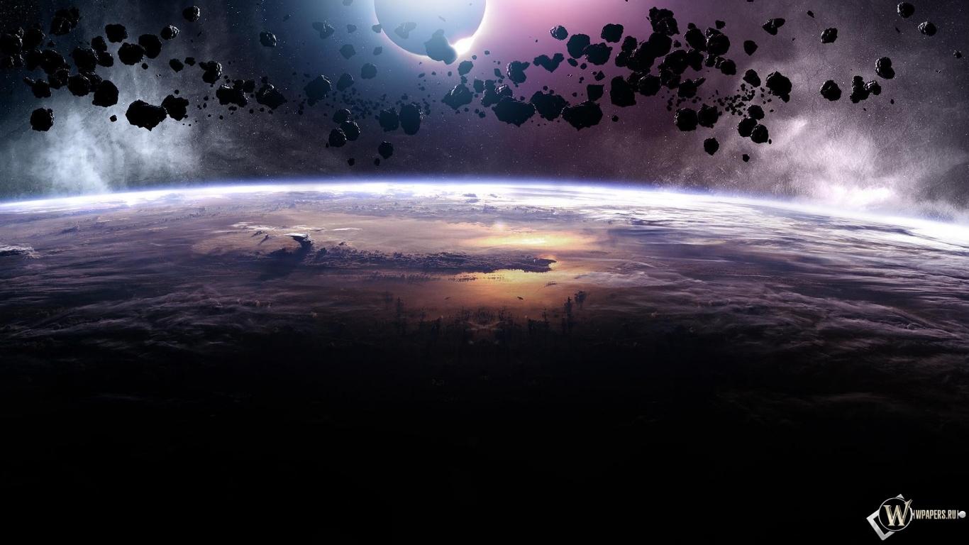 Астероиды 1366x768