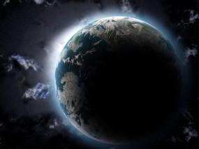 Обои Земная тень: Космос, Земля, Звёзды, Тень, Космос