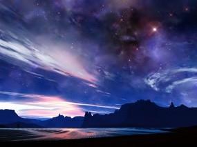 Обои Звездное небо: Сияние, Звёзды, Небо, Космос