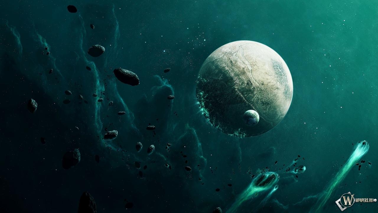 Метеориты и планета 1280x720