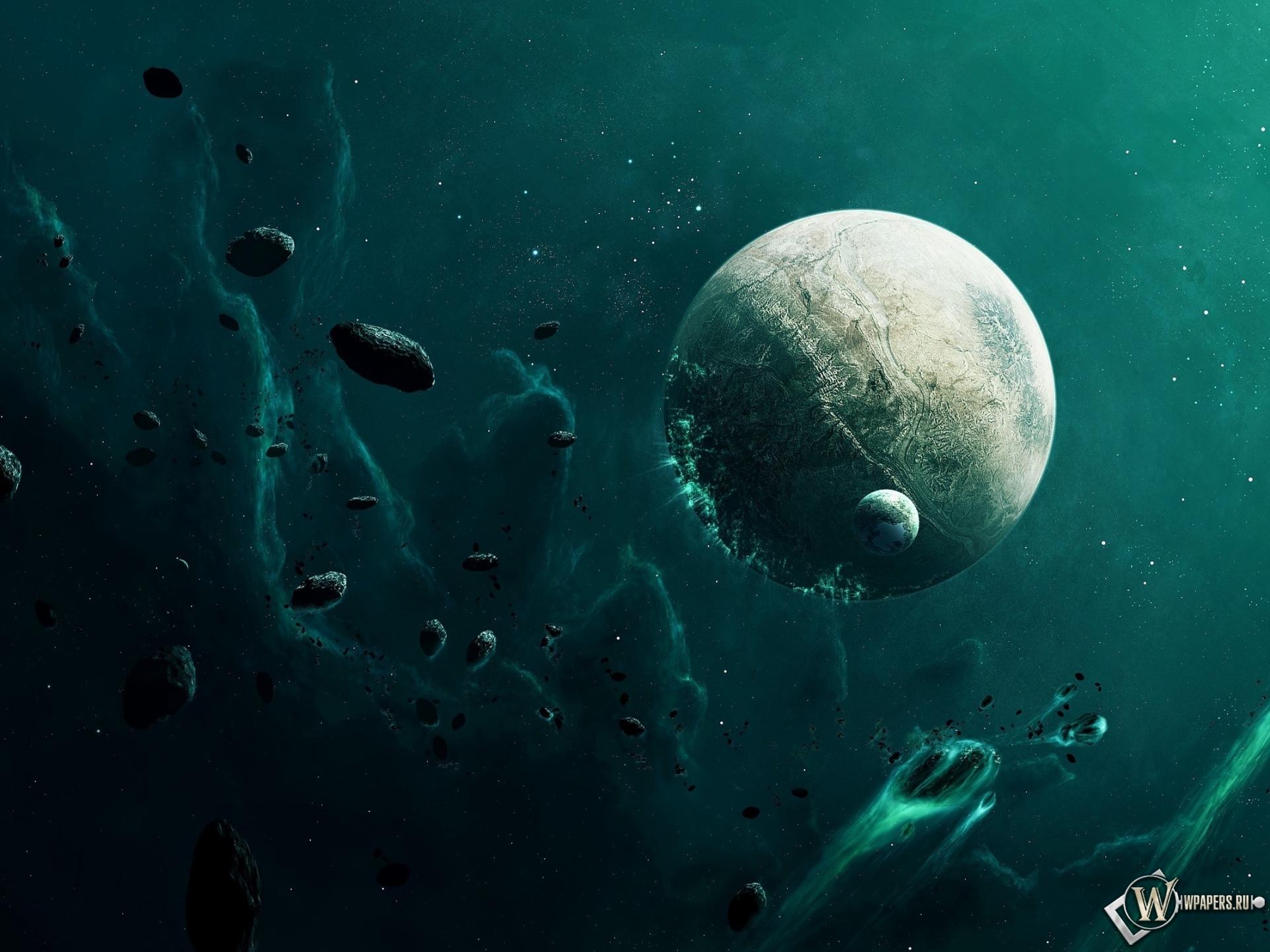 Метеориты и планета 1920x1440