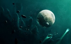 Обои Метеориты и планета: Космос, Планета, Метеориты, Космос