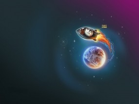 Обои Белка и стрелка: Ракета, Земля, Планета, Космос