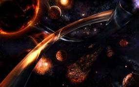 Обои фентези-космос: Планеты, Звёзды, Метеорит, Космос