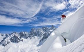 Обои Skiing: Облака, Горы, Снег, Небо, Лыжи, Спорт