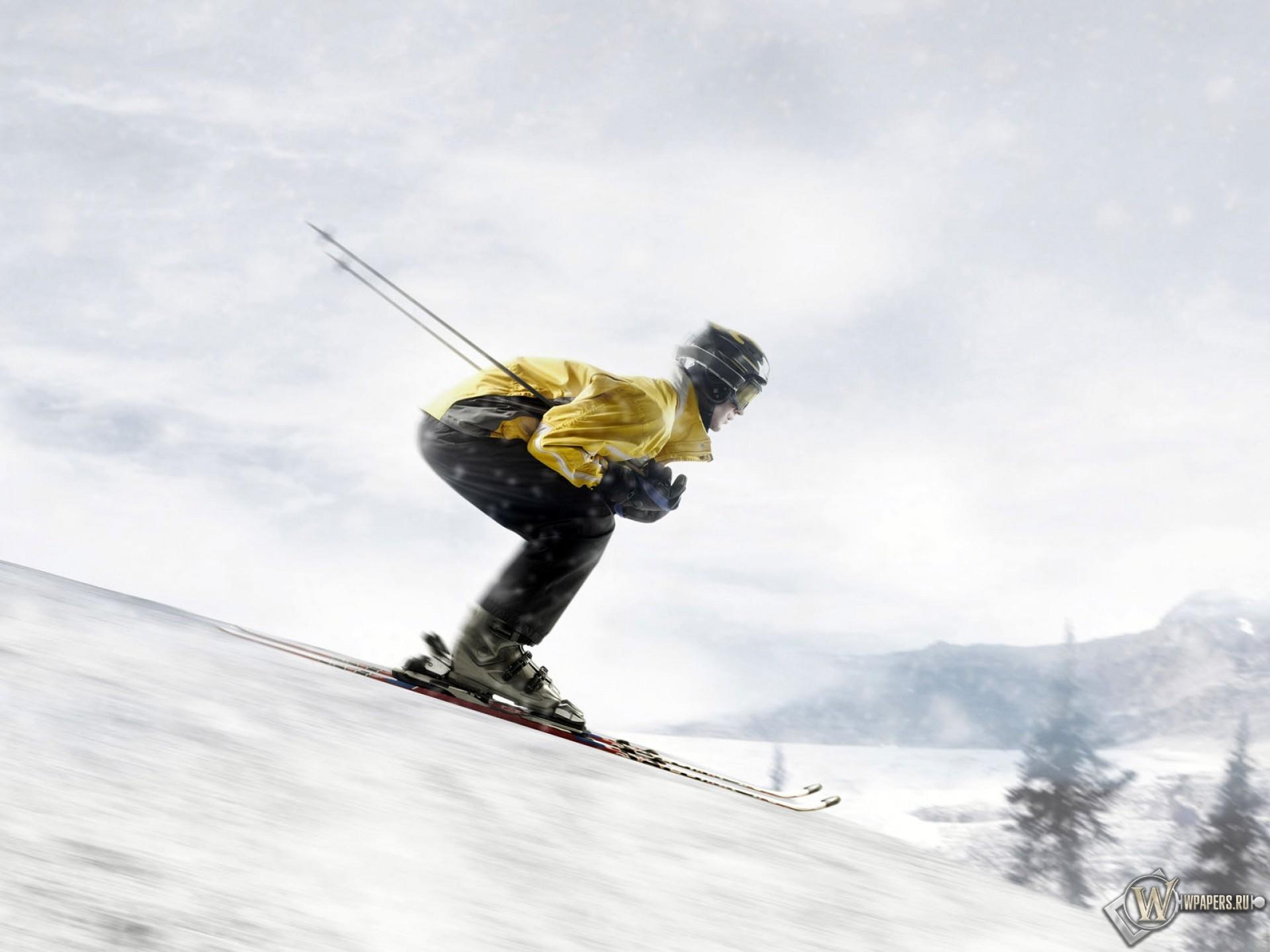 Обои спуск, Лыжи, лыжник. Спорт foto 12