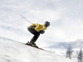 Обои На лыжах: Лыжник, Спорт
