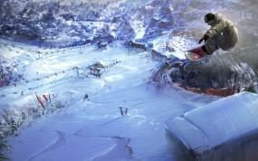 Обои Сноуборд: Горы, Снег, Сноубордист, Спорт