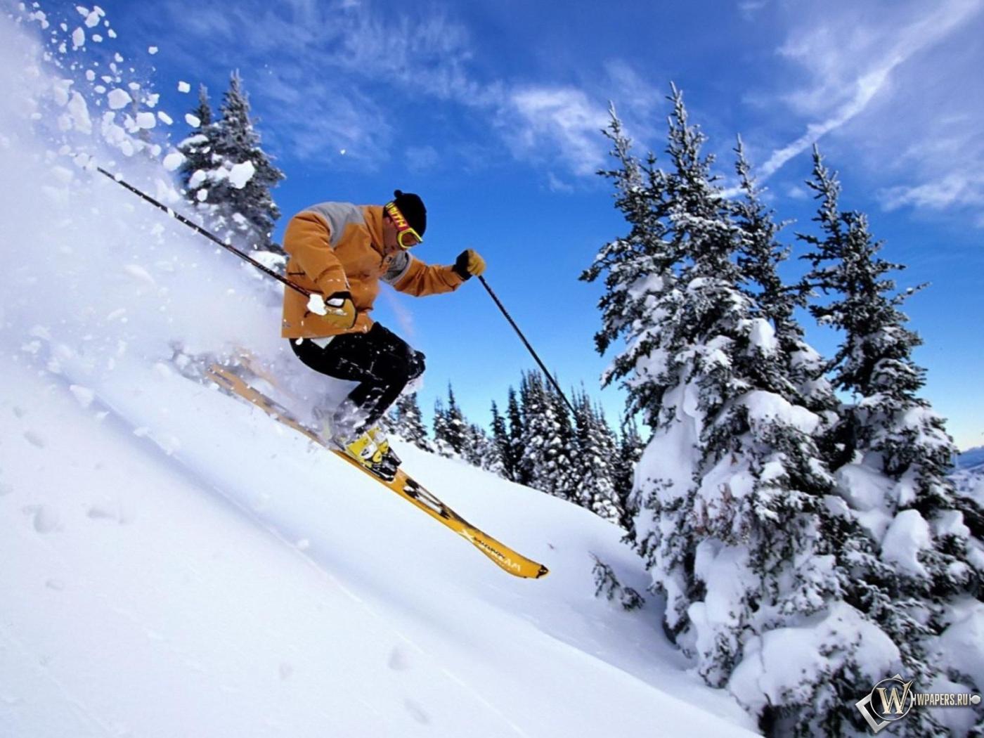 Обои спуск, Лыжи, лыжник. Спорт foto 11