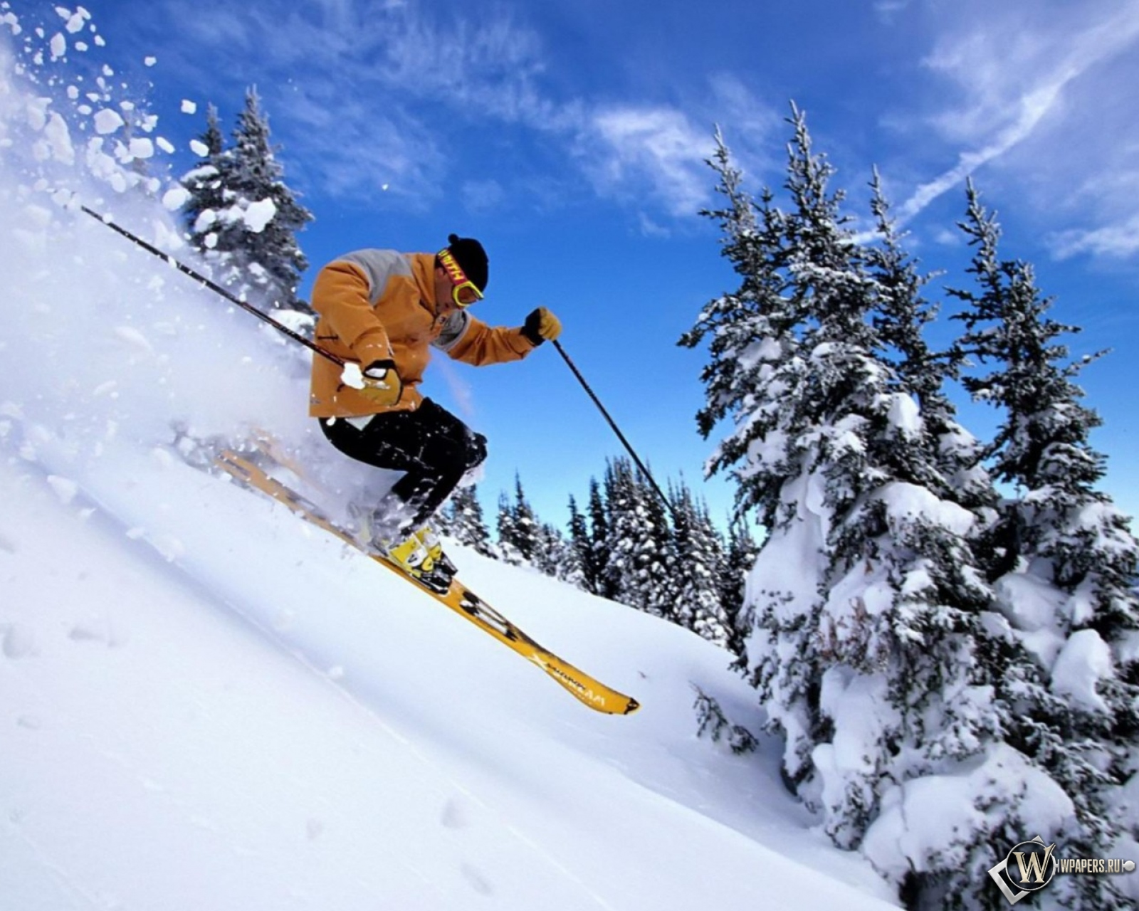 Обои лыжник, спуск, склон. Спорт foto 7