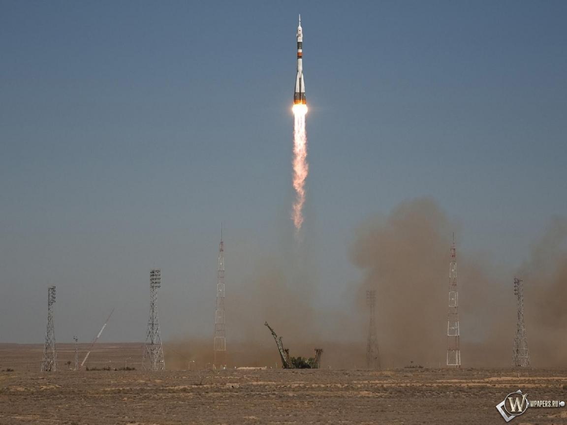 Запуск ракеты Союз ТМА-16 1152x864