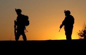 Обои Американская армия: Закат, Оружие, Автоматы, Армия, Оружие