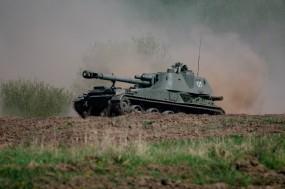 Обои САУ 2С3 «Акация»: Пыль, Танк, САУ, Оружие