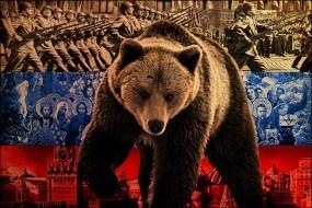 Обои Русский медведь: Россия, Политика, Медведь, Флаг, Медведи