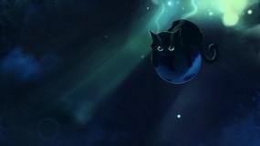 Обои Чёрный котенок: Кот, Планета, Кошки