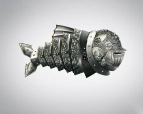 Обои Рыба в доспехах: Минимализм, Доспехи, Рыба, Рыбы