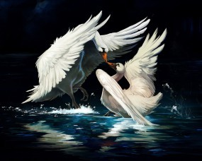 Обои Нарисованные лебеди: Рисунок, Лебеди, Лебеди