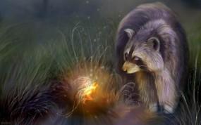 Обои Таинственный мир Бенти Шлик (Енот): Фея, Ночь, Фентези, Енот, Ручей, Прочие животные