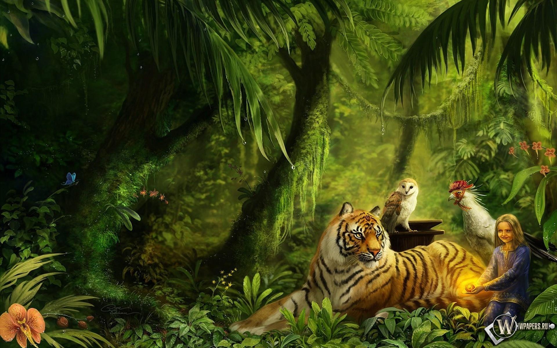 Животные в лесу 1920x1200