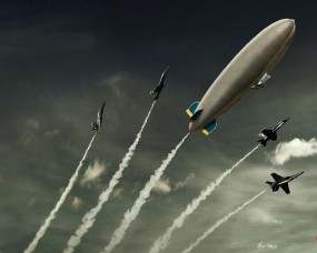 Дирижабль с истребителями