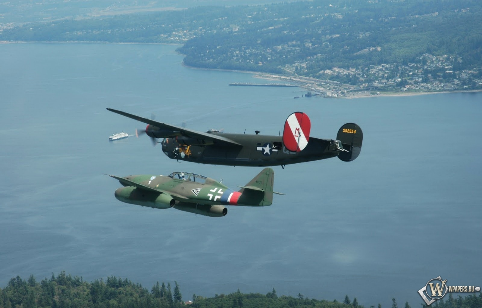 Me-262 and Avro Lancaster 1600x1024