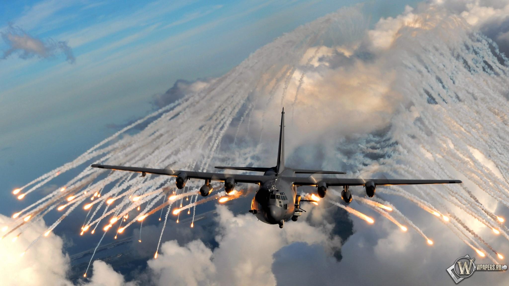 Вспышки из самолета 2048x1152
