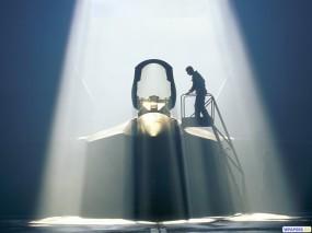 Обои Истребитель в ангаре (YF-22 Raptor): Истребитель, Raptor, Истребители