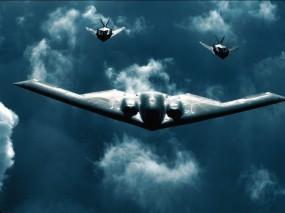 Обои Бомбардировщик B-2: B-2, Стелс, Истребители