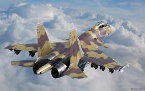 Обои Су-37: Облака, Небо, Самолёт, Су-37, Истребители