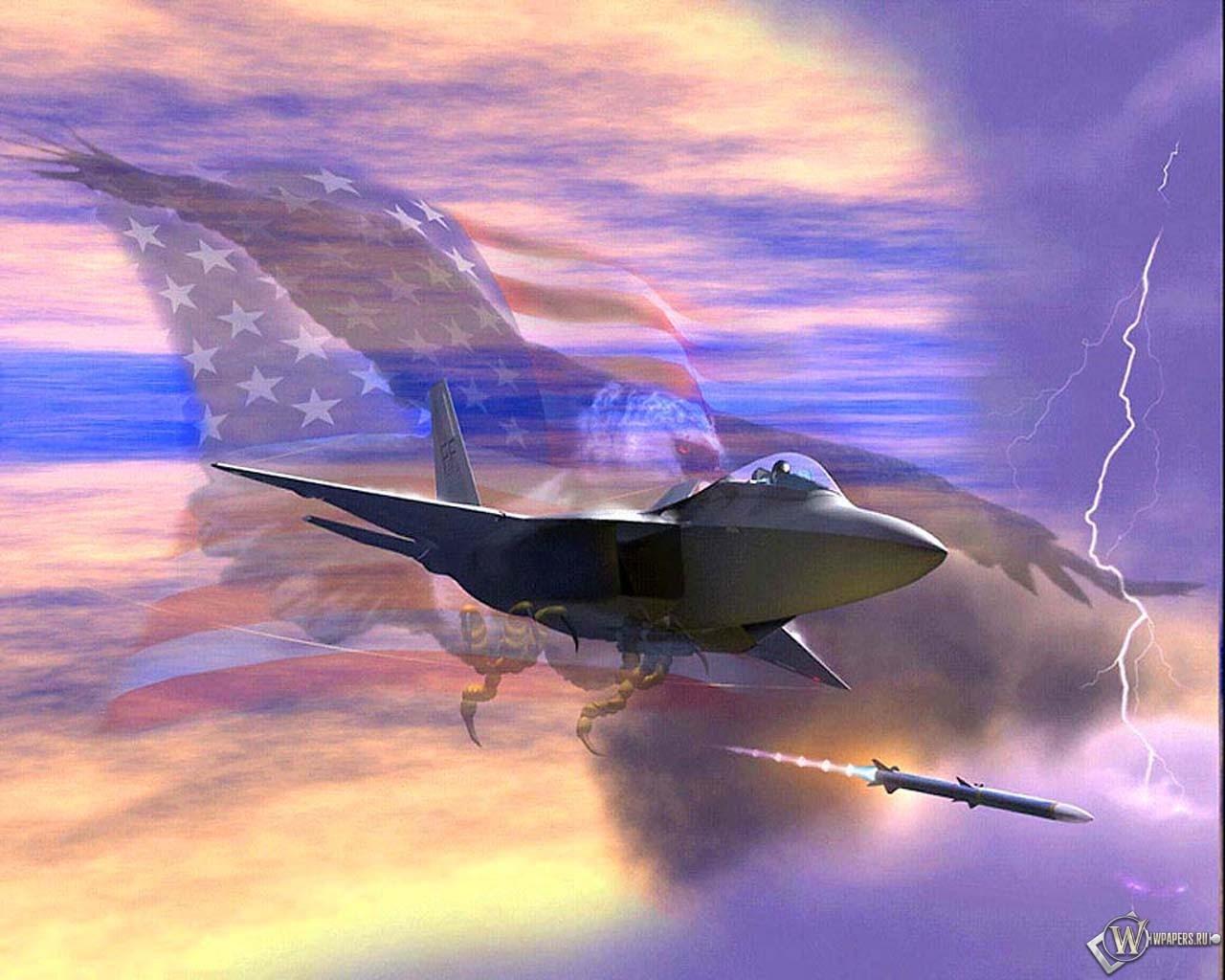 Пуск ракеты из истребителя 1280x1024