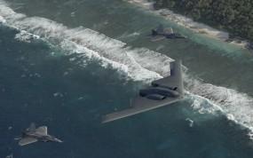 Обои Конвой B-2: F-22, B-2, Pacific Ocean, Истребители