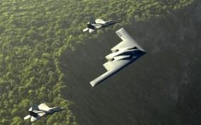 Обои Готов нанести удар: Истребители, Колонна, Самолёты, Бомбардировщик, Истребители