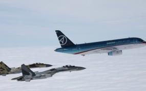 Обои 2 истребителя и аэробус: Истребители, Самолёт, Воздух, Истребители
